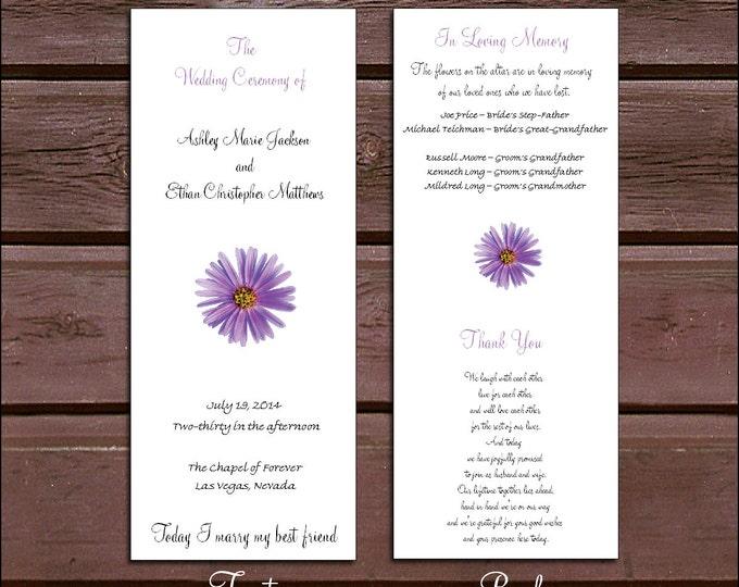 100 Lavender Purple Daisy Wedding Ceremony Programs