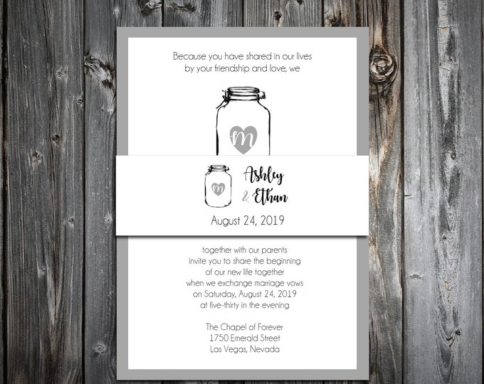 100 Wedding Invitations Belly Bands Wraps - Mason Jar - Printed - Personalized - Rustic