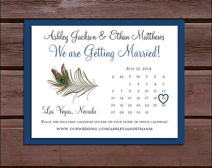 Peacock Feathers Wedding Save the Date Cards Invitations