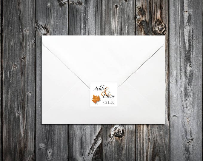 100 Fall Leaf Wedding Envelope Seals. Personalized Sticker Labels.
