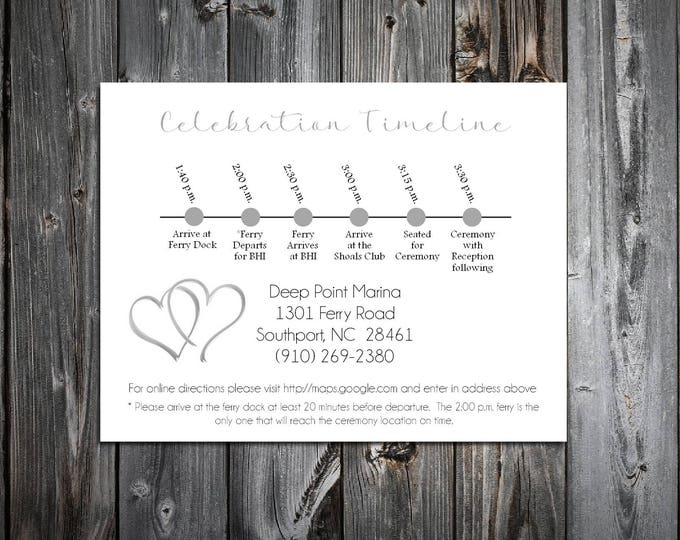 100 Hearts Timeline to include with your Wedding Invitations. Includes printing