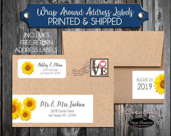 100 Printed Wrap Around Address Labels - Sunflowers- Printed - Personalized self stick labels