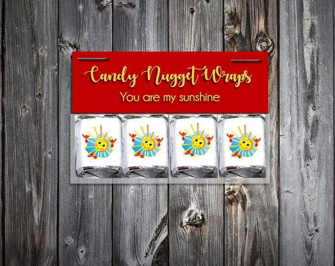 60 You Are My Sunshine Baby Shower Candy Wraps Favors. Includes printing.