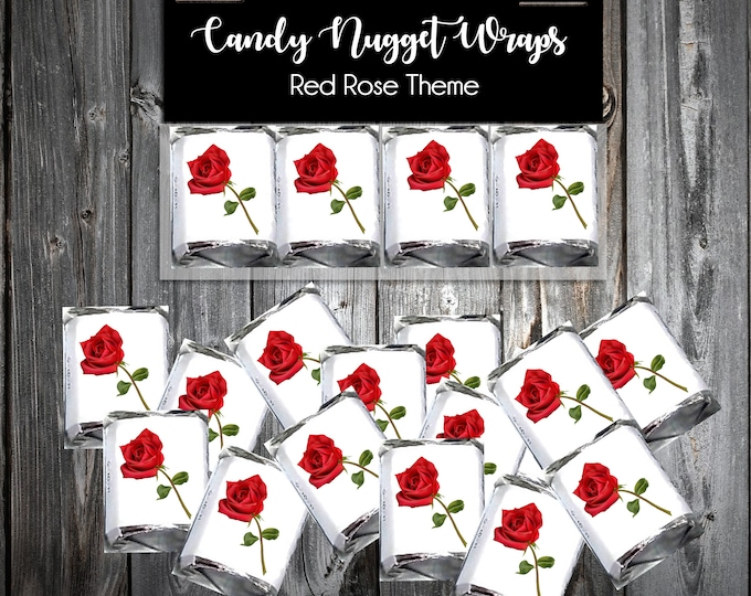100 Candy Chocolate Wraps - Red Rose - Personalized Wrappers - Printed - Roses Wedding Favors