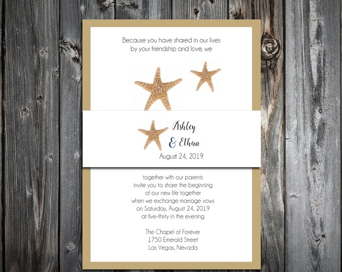 100 Wedding Invitations Belly Bands Wraps - Beach Starfish - Printed - Personalized