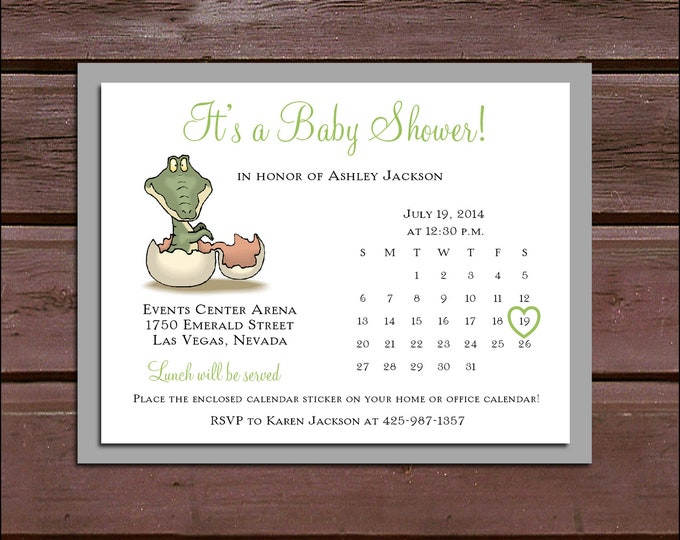 25 DINOSAUR Baby Shower Invitations set - Price includes personalization and printing