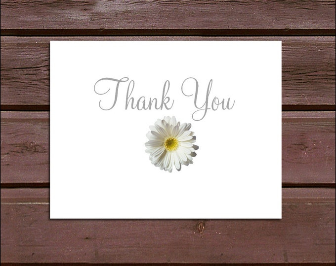 150 White Daisy Wedding Thank You Notes