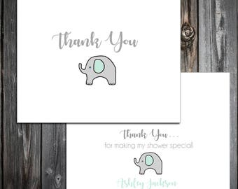 25 Green and Grey Elephant Baby Shower Thank You Notes. Price includes printing.