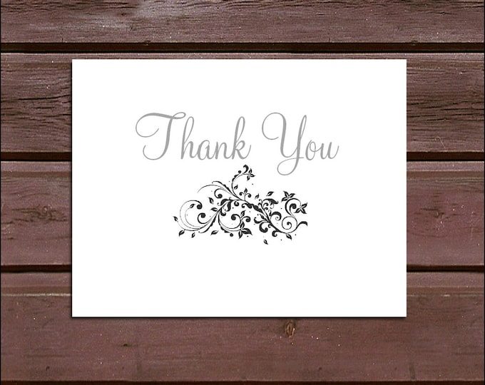 100 Damask Swirl Wedding Thank You Notes