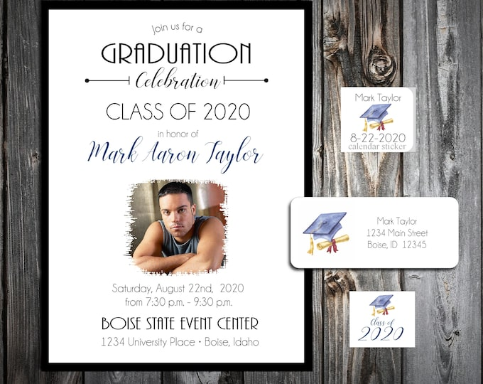 25 Graduation invitations includes personalization, printing, calendar stickers, envelope seals and return address labels