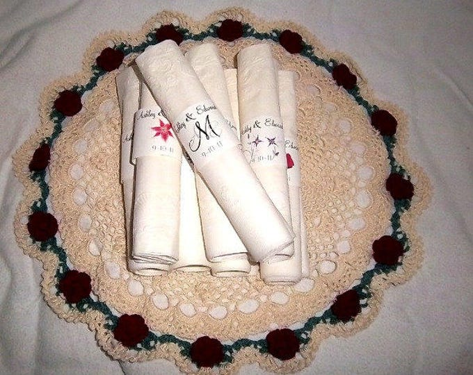 150 Monogram Wedding Napkin Ring Cuffs Wraps. Personalized Favors - monogrammed