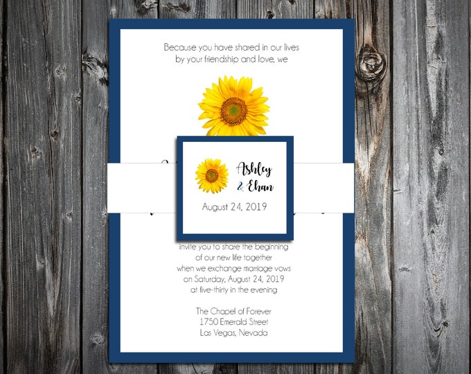 100 Wedding Invitations Belly Bands with Tags - Sunflower - Printed - Personalized