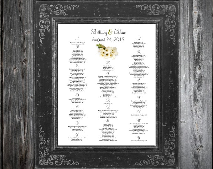 Calla Lily Seating Chart for Table Assignments for your Wedding Reception - Printable PDF File