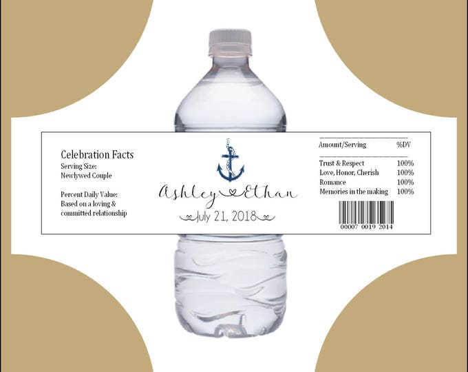 100 Nautical Beach Anchor water bottle labels - Wedding favors