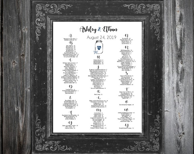 Wedding Seating Chart for Table Assignments for your Wedding Reception - Mason Jar with Butterfly - Printable PDF File