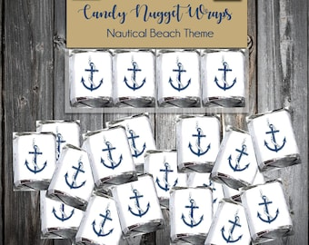 100 Nautical Beach Anchor Candy Wraps - Wedding Favors - Nugget Chocolate Wrappers