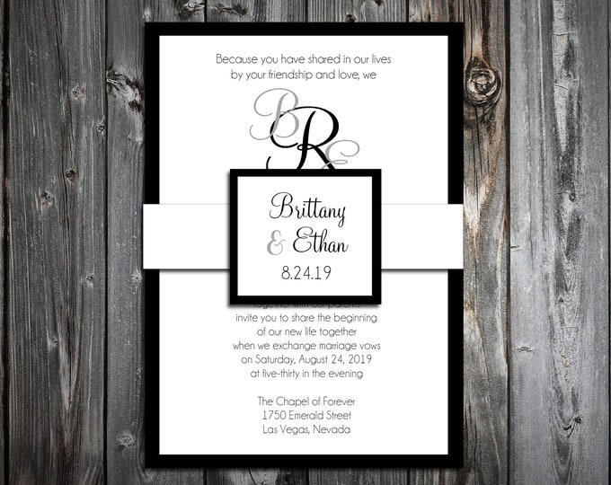 100 Wedding Invitations Belly Bands with Tags Wraps - Monogram - Printed - Personalized - Monogrammed