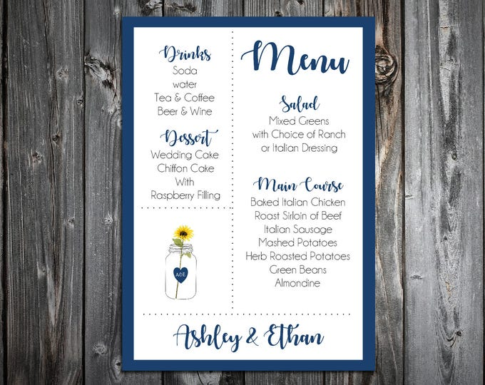 100 Mason Jar with Sunflower Rustic Wedding Menu Cards - Dinner Menus
