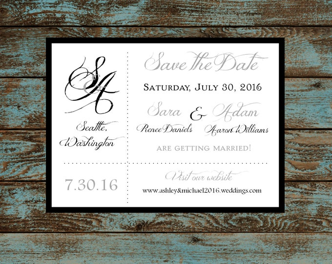 Monogram with Ampersand Wedding Save the Date Cards Invitations