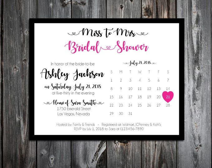 25 Bridal Shower Invitations - Printing included