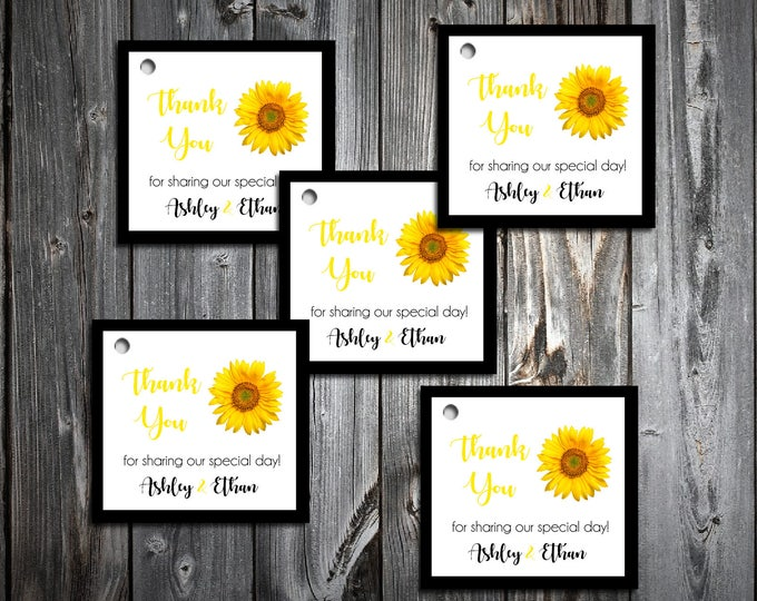 50 Sunflower Favor Tags.  Wedding favors
