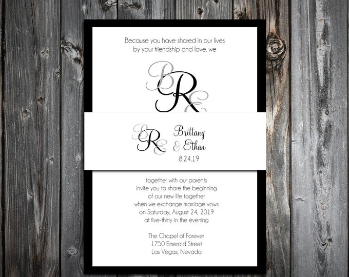 100 Wedding Invitations Belly Bands Wraps - Monogram - Printed - Personalized - Monogrammed