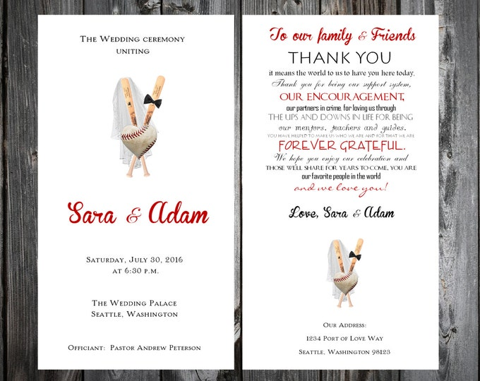 Baseball Heart Wedding Programs 100 Wedding Ceremony Personalized and Printed Programs