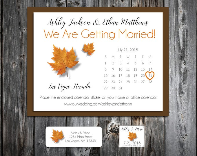 Fall Leaf Wedding Save the Date Cards Invitations