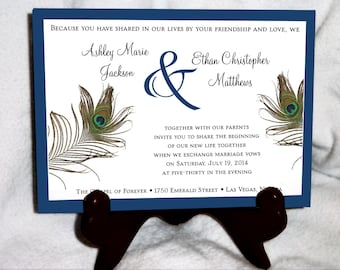 Peacock Wedding Invitations Etsy