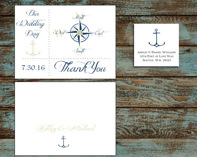 Nautical Compass Anchor 100 Wedding Thank You Notes