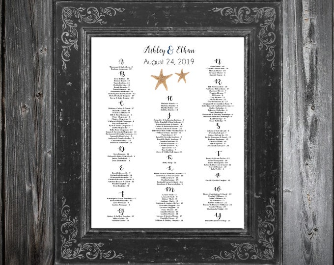 Wedding Seating Chart for Table Assignments for your Wedding Reception - Beach Starfish - Printable PDF File