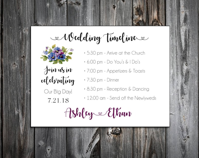 100 Pansies Flowers Timeline to include with your Wedding Invitations. Includes printing