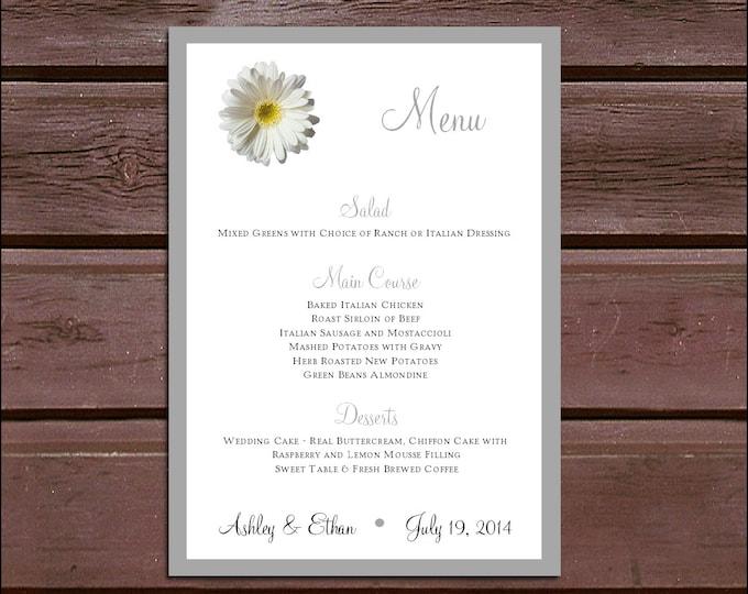100 White Daisy Wedding Menu Cards - Dinner Menus