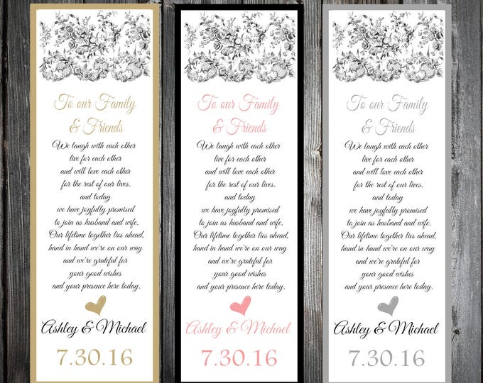Lace and Burlap Rustic Theme 50 Wedding personalized and printed Bookmarks Favor