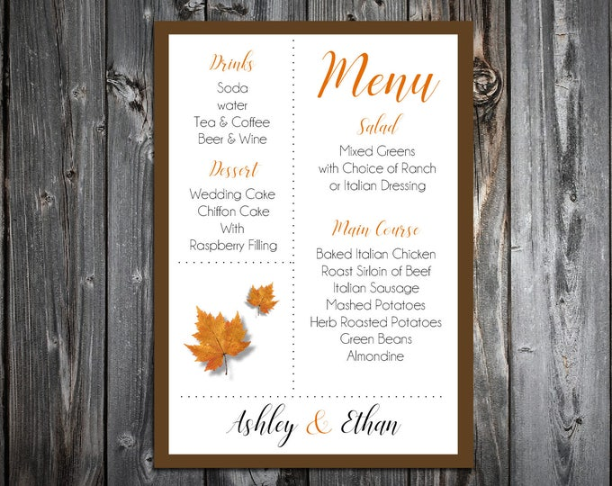 100 Fall Leaf Wedding Menu Cards - Dinner Menus - Fall In Love