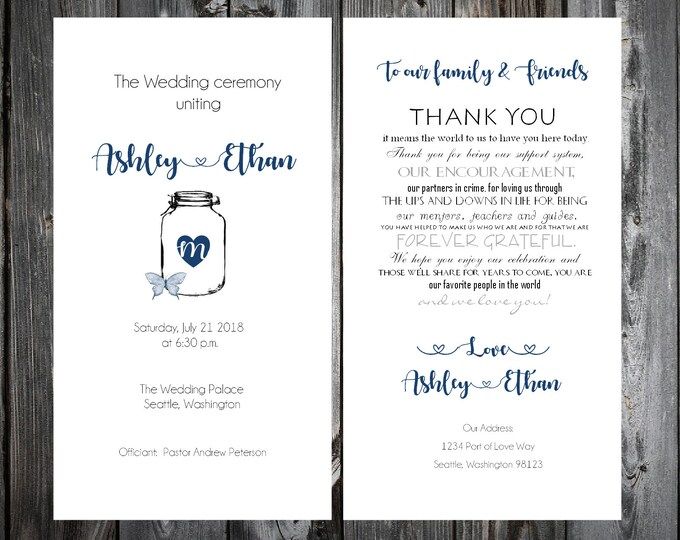 100 Wedding Programs - Mason Jar with Butterfly - Printed - Personalized