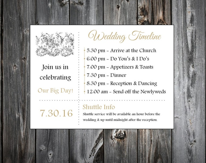 Lace and Burlap Rustic Theme 100 Personalized and Printed Timelines. Wedding Invitations Inserts.  Ceremony Reception Schedule.