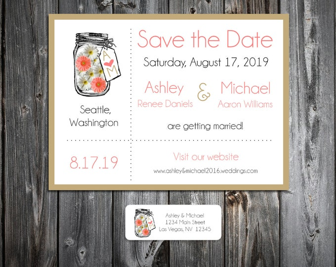 Mason Jar with White and Coral Daisies Wedding Save the Date Cards Invitations