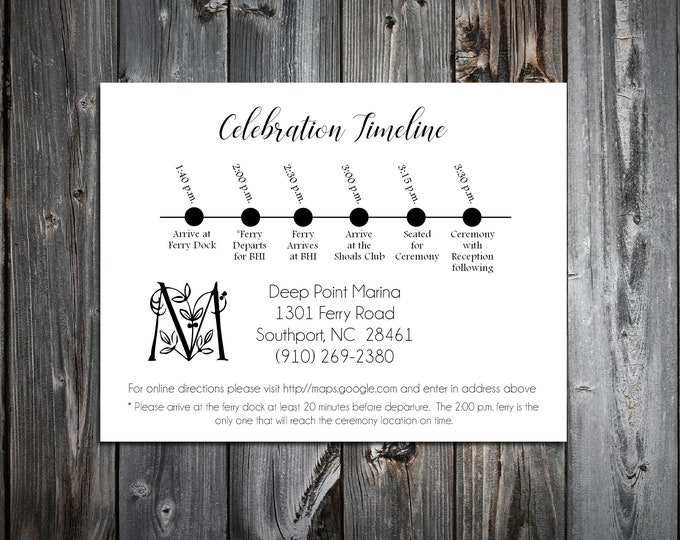 100 Wedding Timeline Itinerary - Monogram Floral Letter - Printed - Personalized - Order of Events