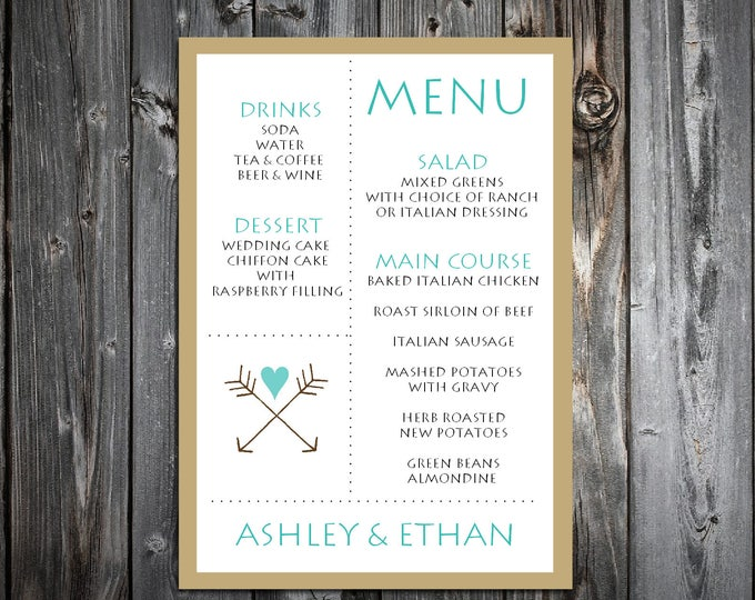 Arrow Menus. 100 Personalized and Printed Wedding Menu Cards.  Dinner Reception.  Food Choices.