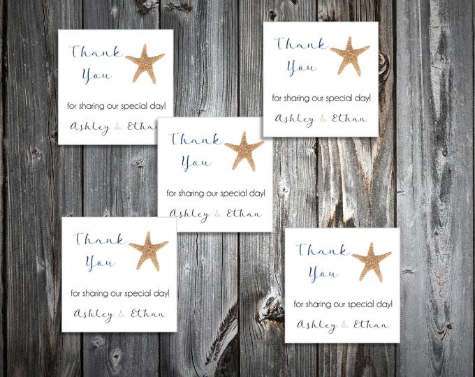 50 Beach Starfish Wedding Favor Stickers. Personalized printed square labels are 2 inches by 2 inches.