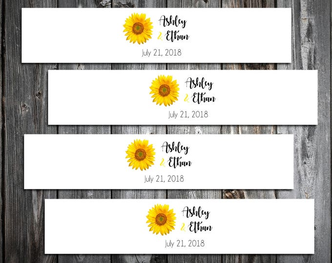 100 Sunflower Wedding Invitation Belly Bands Wraps.  Includes personalization and  printing