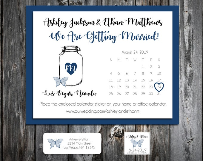 50 Wedding Save the Date Cards - Mason Jar with Butterfly - Printed - Personalized Save the Dates Invitations