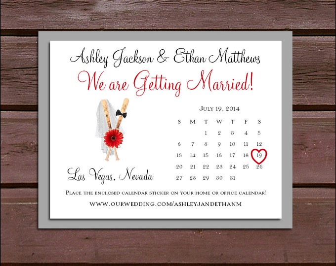 Baseball Wedding Save the Date Cards Invitations