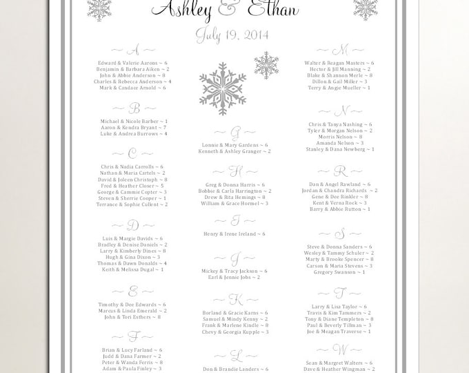 Snowflake Seating Chart for Wedding Table Assignments for your Wedding Reception - Printable PDF File