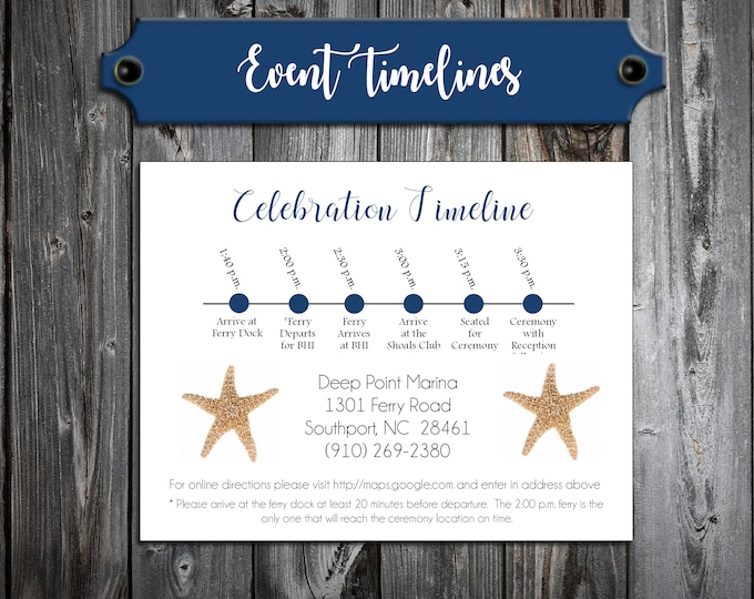 100 Wedding Timeline Itinerary - Beach Starfish - Printed - Personalized - Order of Events