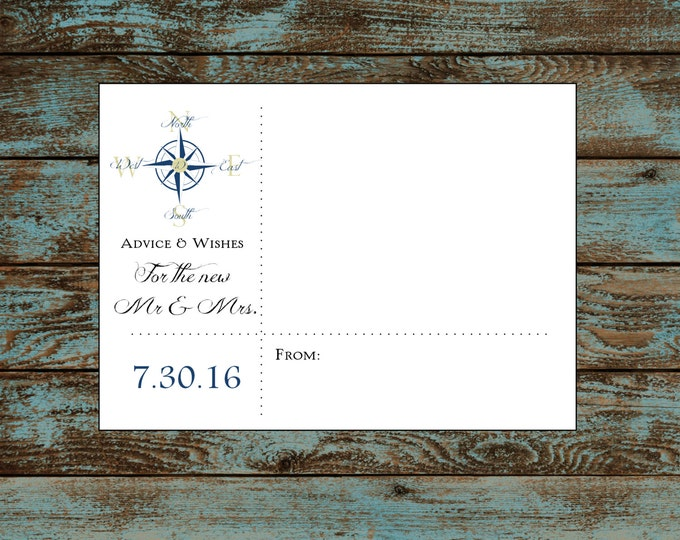 Nautical Compass Anchor Advice and Wishes with Monogram.  100 Personalized and printed. Wedding Favors.  Wishing Tree.