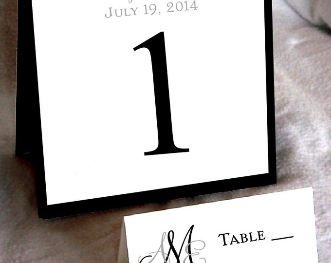25 Monogram Table Numbers and 250 place settings - monogrammed