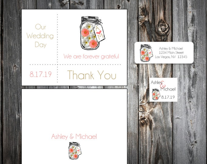100 Mason Jar with White and Coral Daisies Wedding Thank You Notes