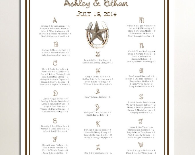 Western Country Rustic Seating Chart for Table Assignments for your Wedding Reception - Printable PDF File